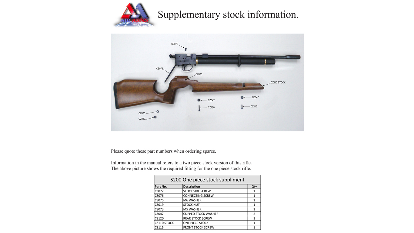 Air Arms S200 Stock Spare Parts