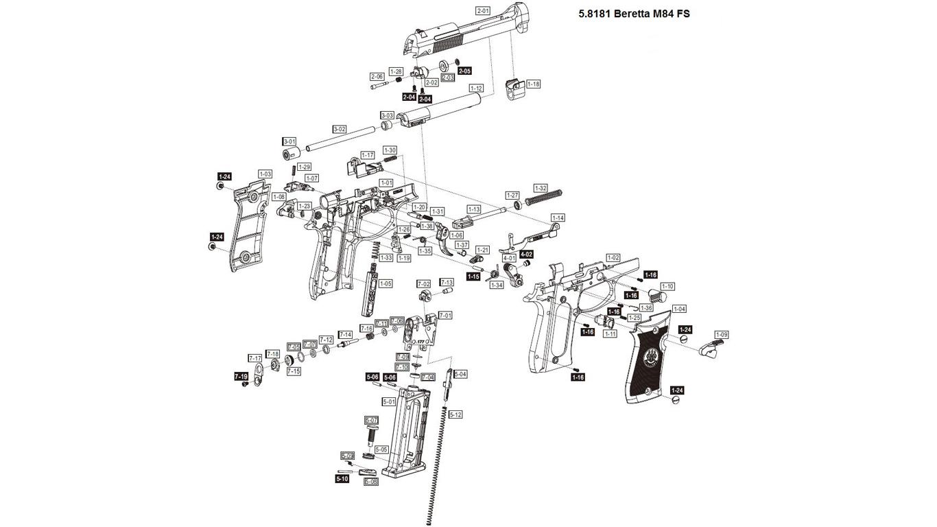 Beretta M84 Spare Parts