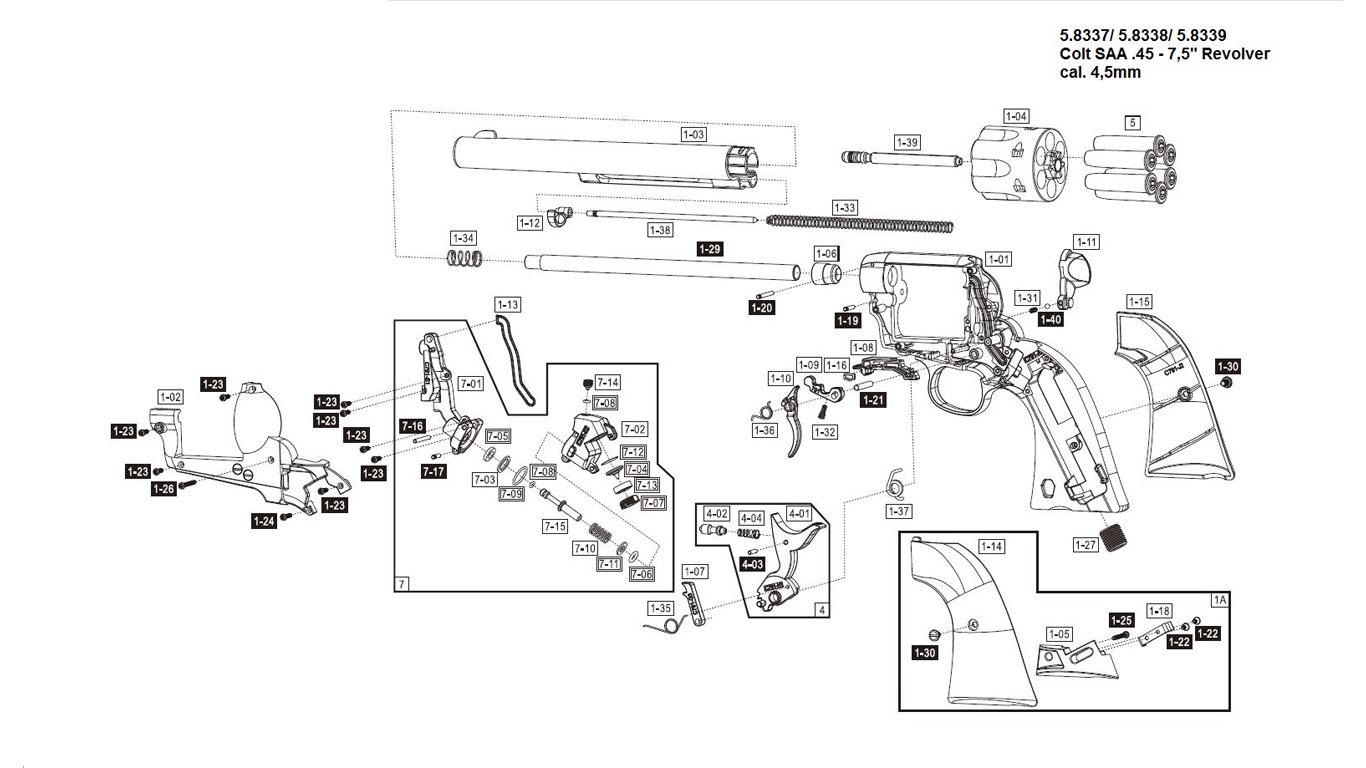 colt peacemaker parts diagram
